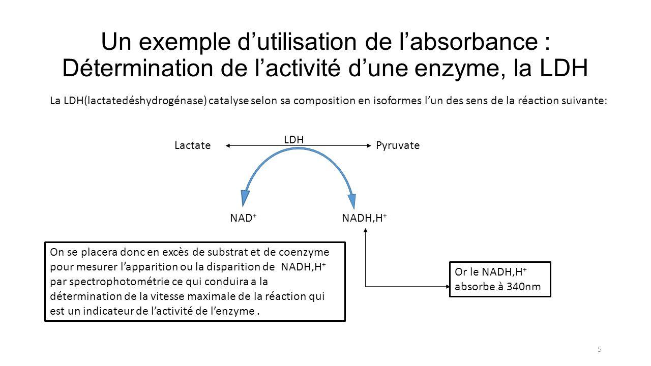 Un exemple d'utilisation de l'absorbance : Détermination de l'activité d'une enzyme, la LDH