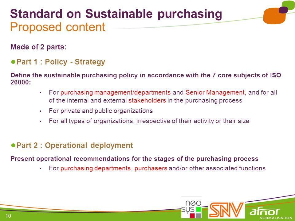 Standard on Sustainable purchasing Proposed content