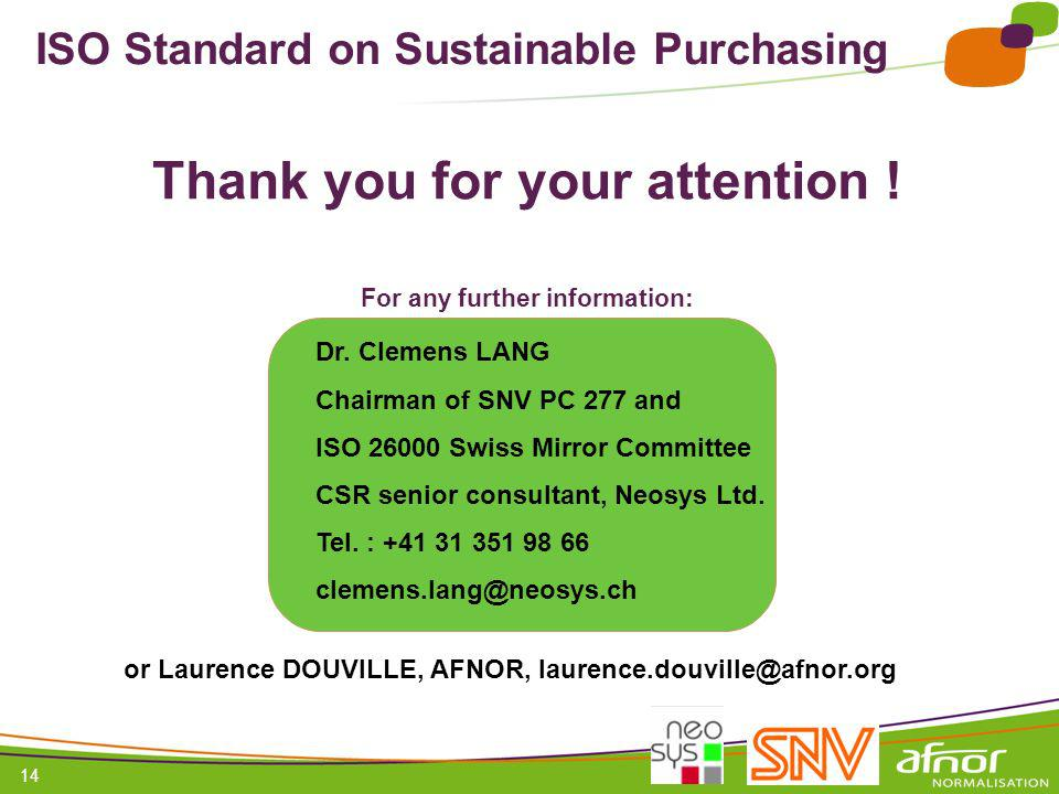 ISO Standard on Sustainable Purchasing