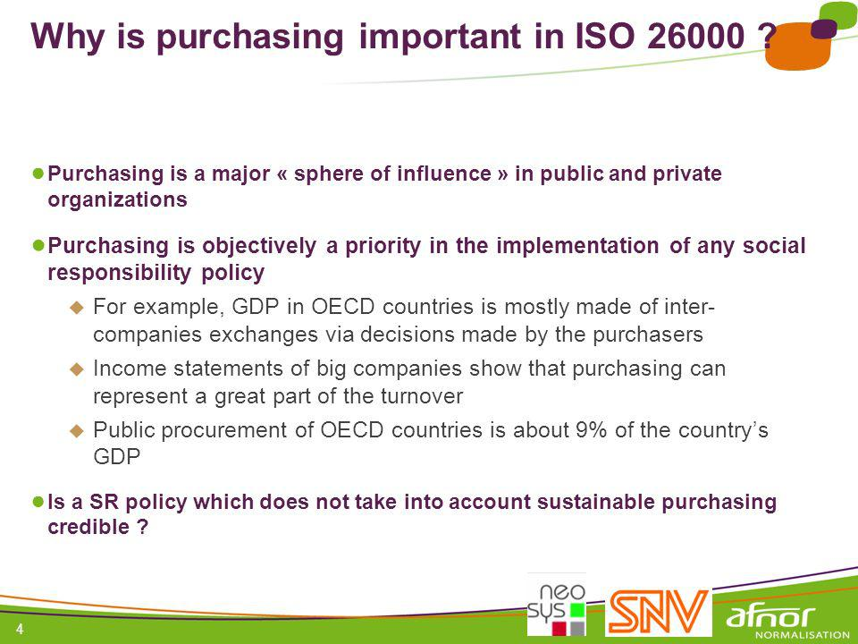 Why is purchasing important in ISO 26000