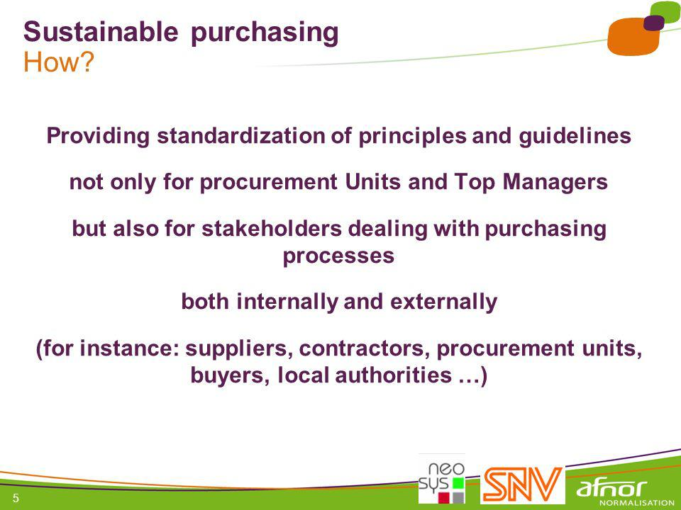 Sustainable purchasing How