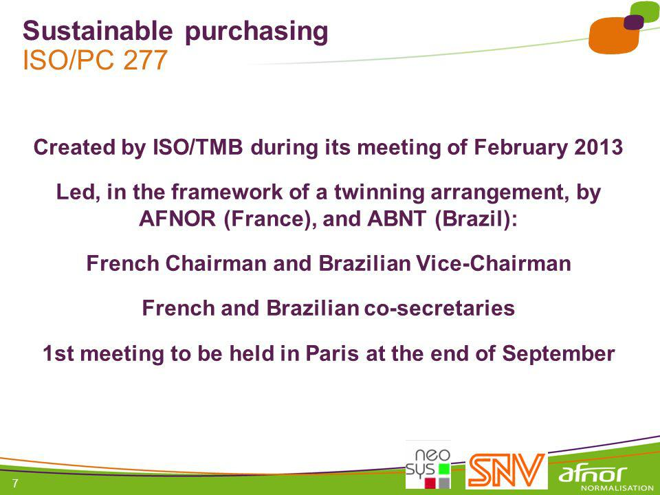 Sustainable purchasing ISO/PC 277
