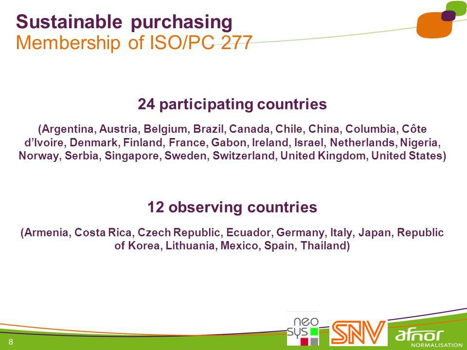 Sustainable purchasing Membership of ISO/PC 277