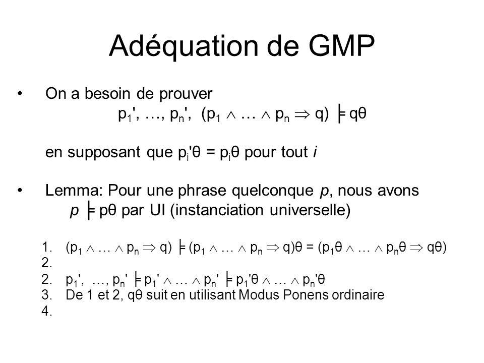 Adéquation de GMP On a besoin de prouver
