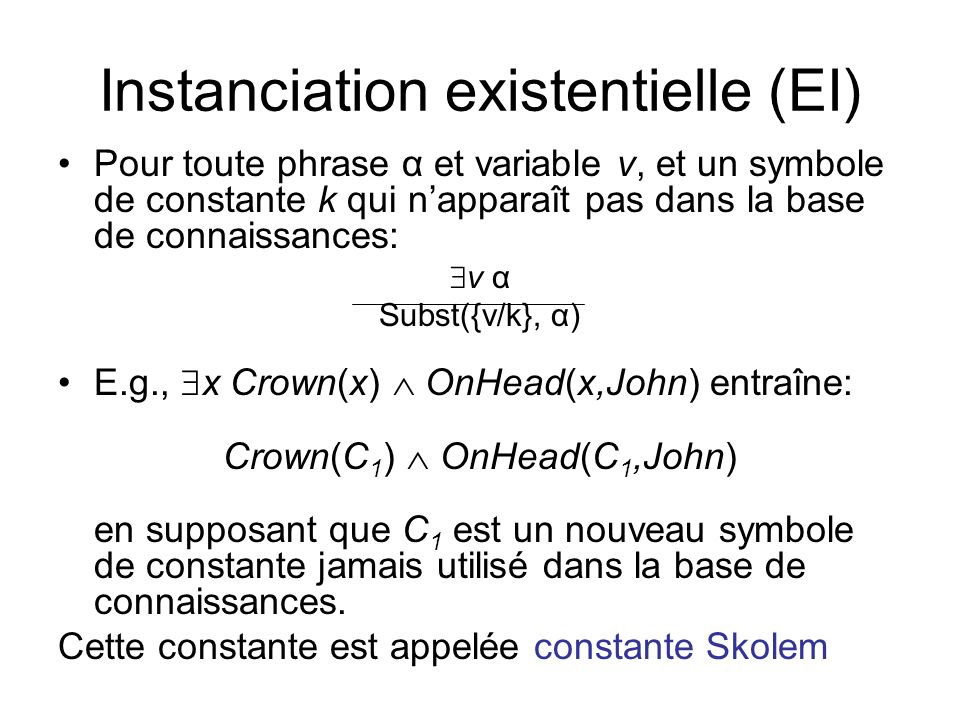 Instanciation existentielle (EI)