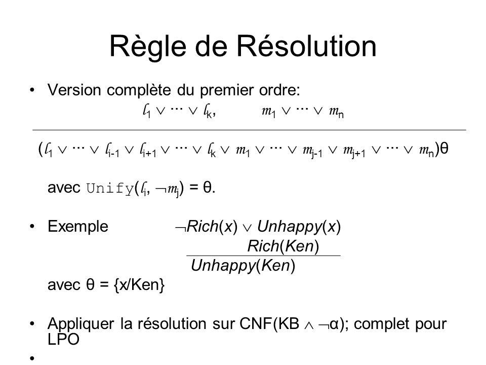 Règle de Résolution Version complète du premier ordre: