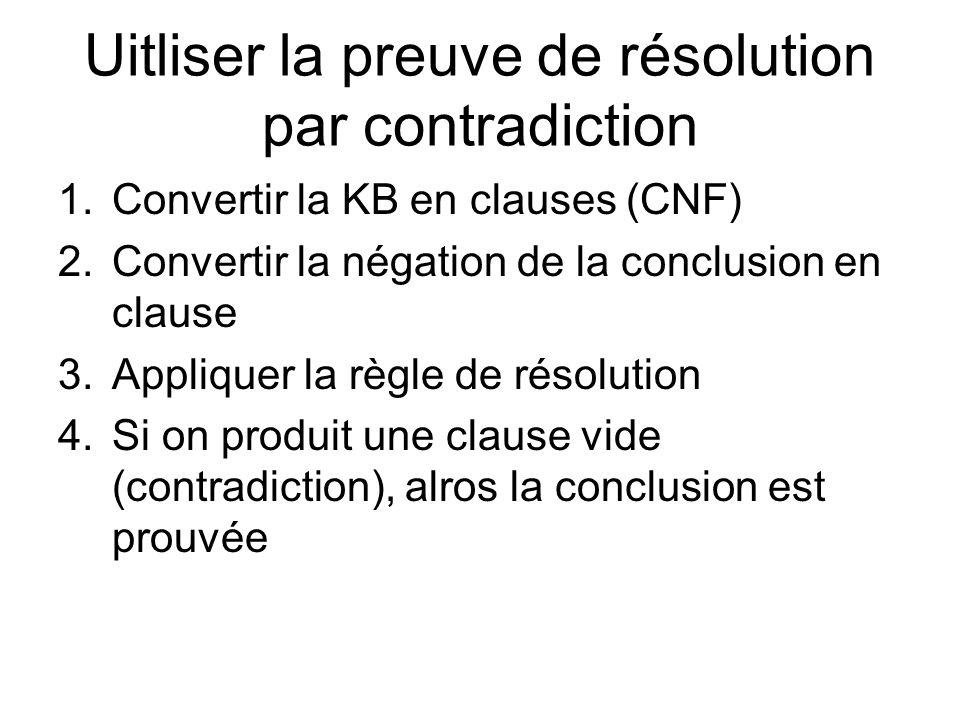 Uitliser la preuve de résolution par contradiction