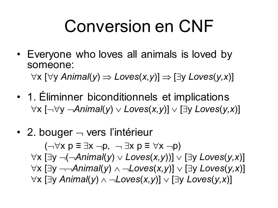 Conversion en CNF Everyone who loves all animals is loved by someone:
