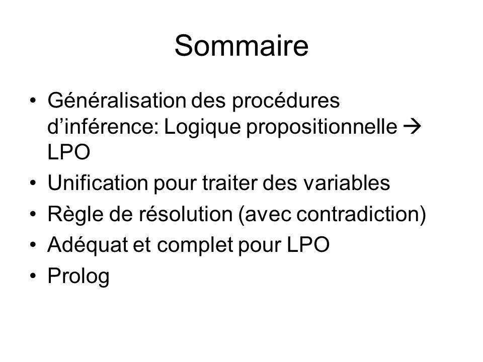Sommaire Généralisation des procédures d'inférence: Logique propositionnelle  LPO. Unification pour traiter des variables.