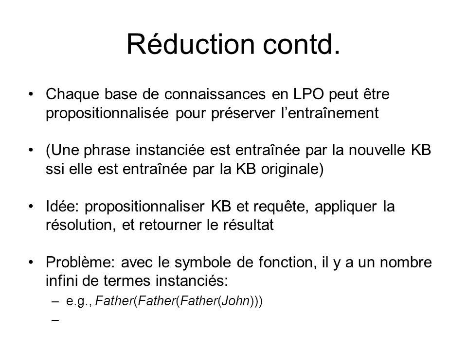 Réduction contd. Chaque base de connaissances en LPO peut être propositionnalisée pour préserver l'entraînement.