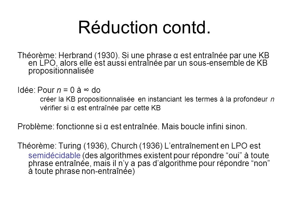 Réduction contd.