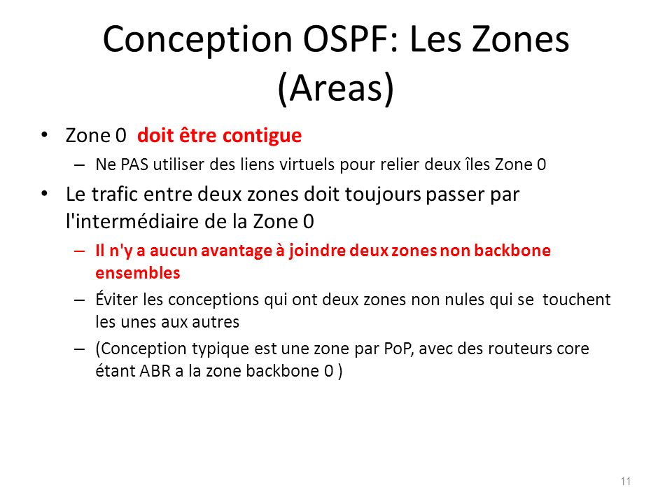 Conception OSPF: Les Zones (Areas)