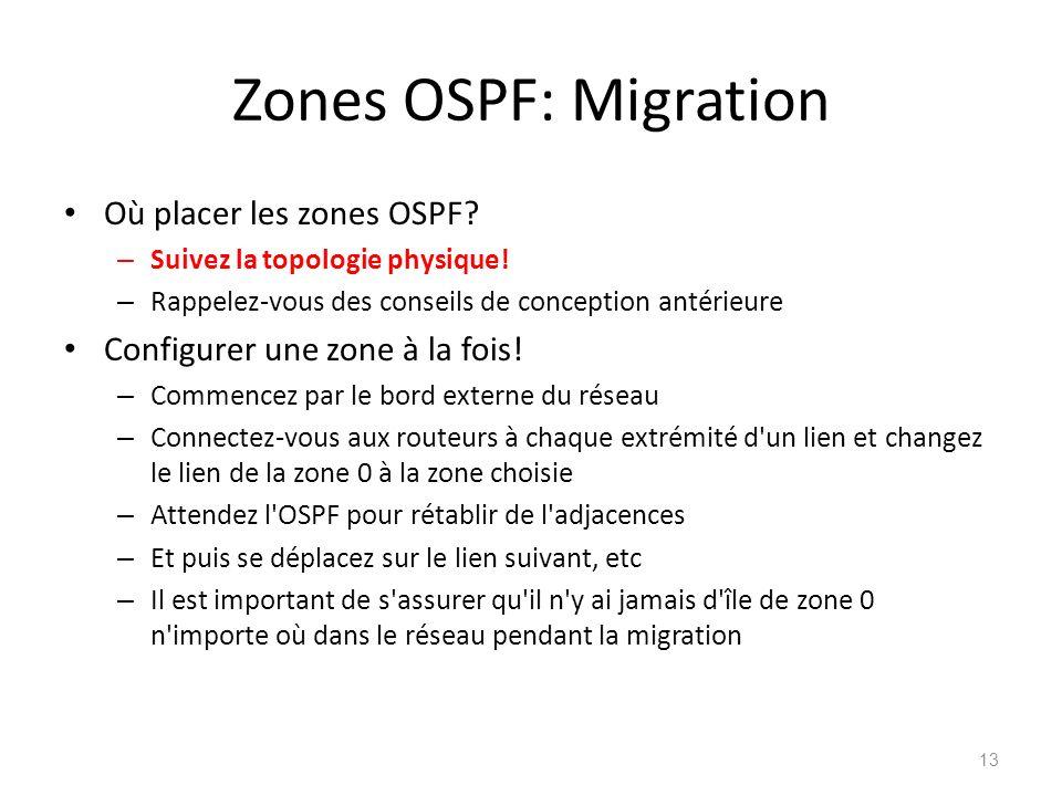 Zones OSPF: Migration Où placer les zones OSPF
