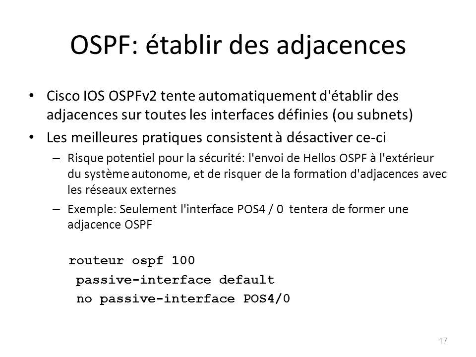 OSPF: établir des adjacences