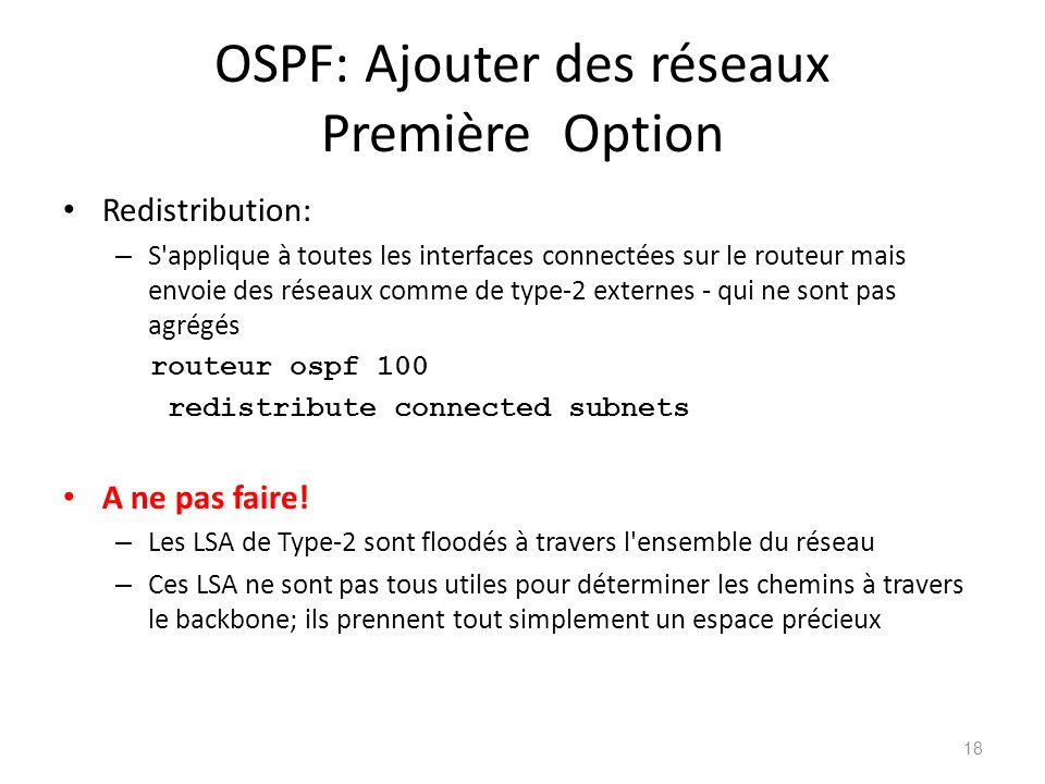 OSPF: Ajouter des réseaux Première Option
