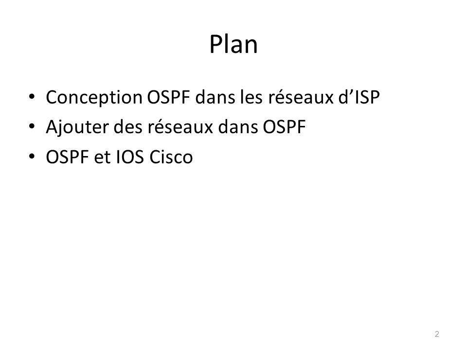 Plan Conception OSPF dans les réseaux d'ISP
