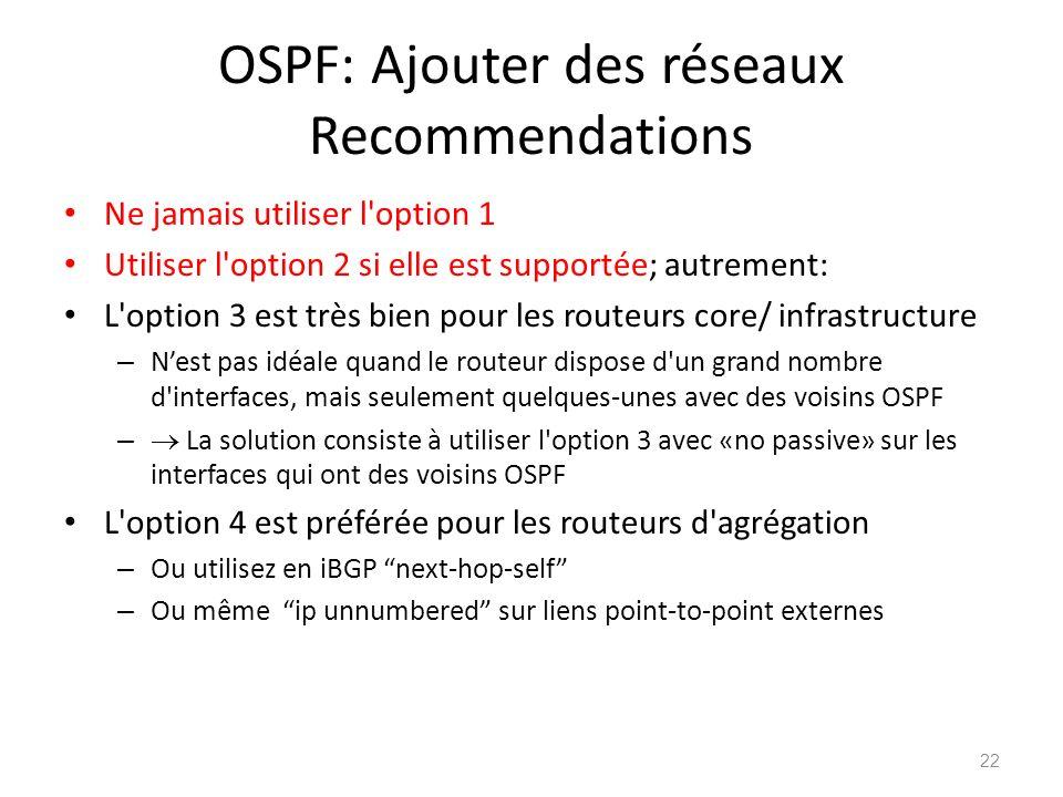OSPF: Ajouter des réseaux Recommendations