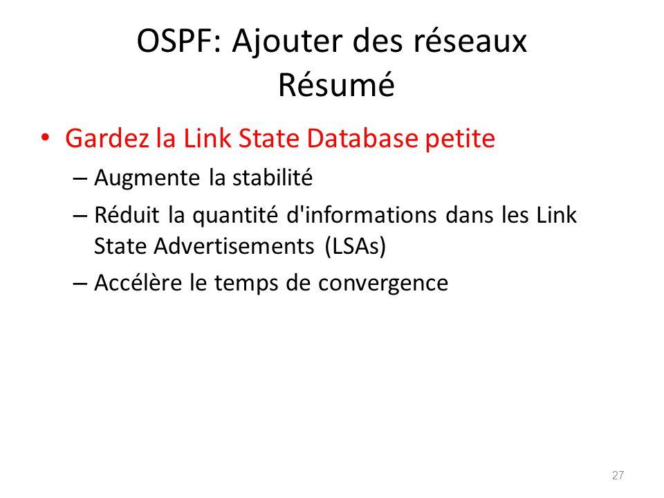 OSPF: Ajouter des réseaux Résumé