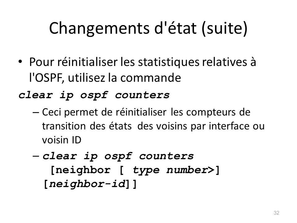 Changements d état (suite)
