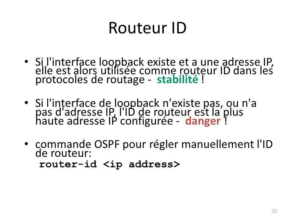 Routeur ID Si l interface loopback existe et a une adresse IP, elle est alors utilisée comme routeur ID dans les protocoles de routage - stabilité !