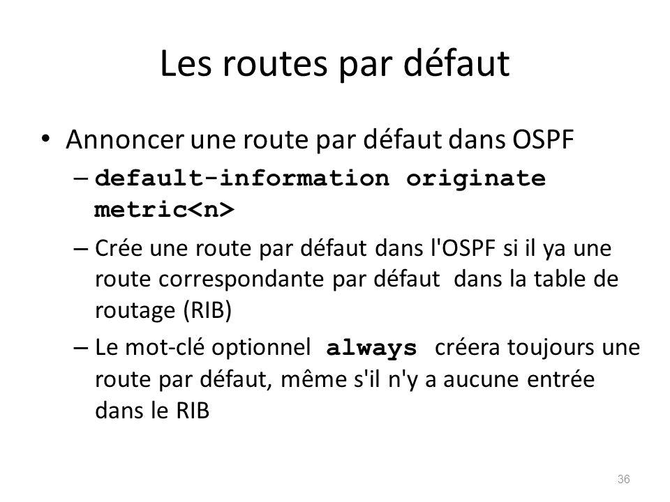 Les routes par défaut Annoncer une route par défaut dans OSPF