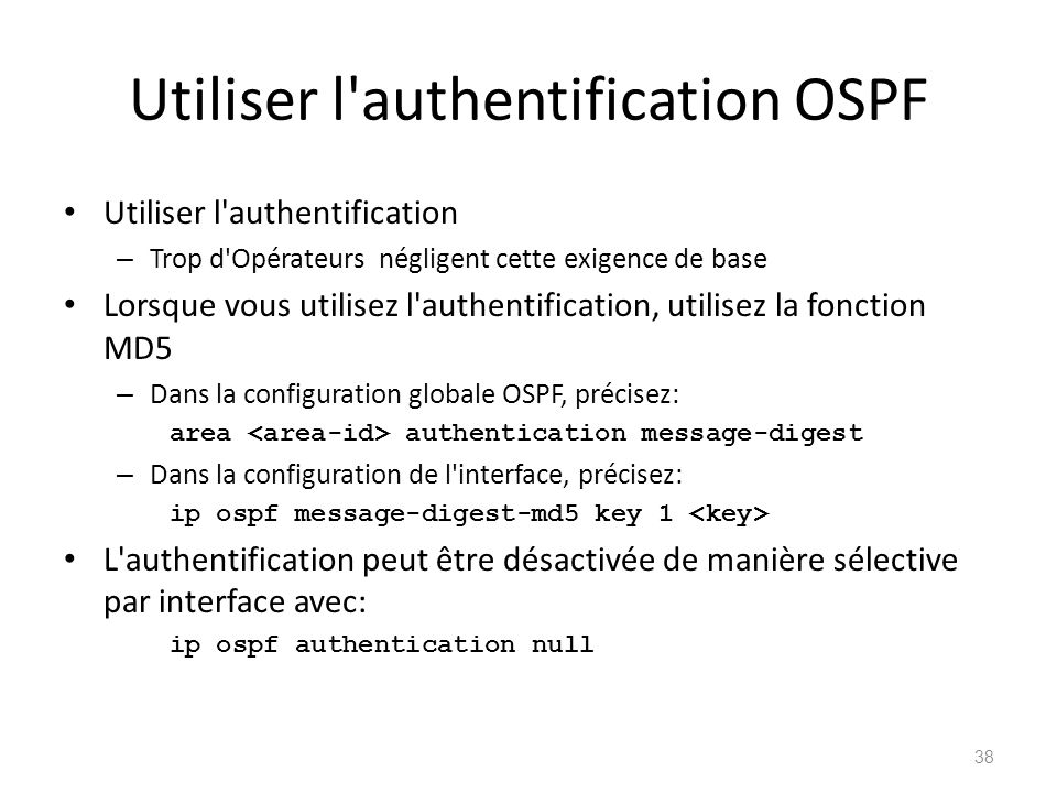 Utiliser l authentification OSPF