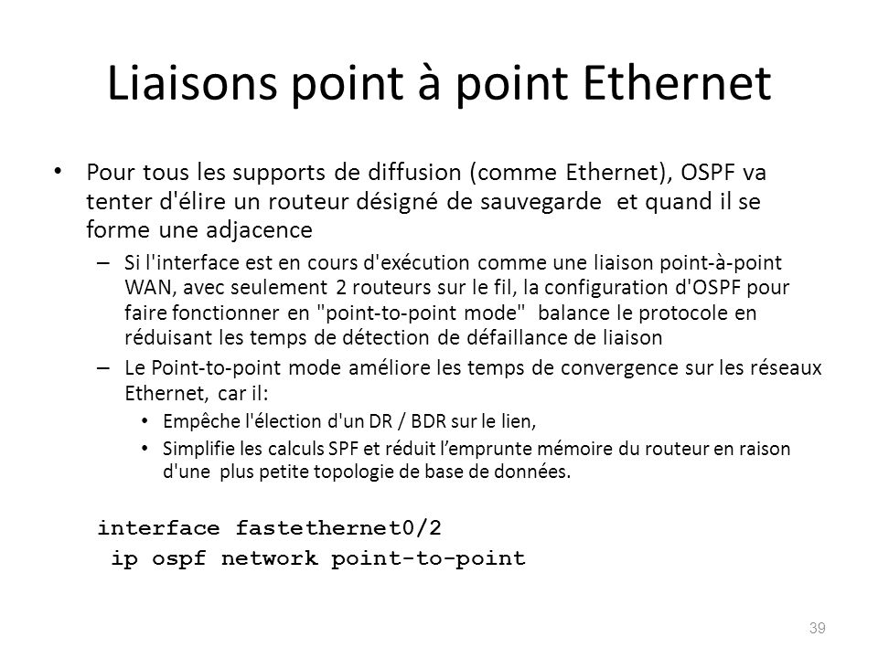 Liaisons point à point Ethernet