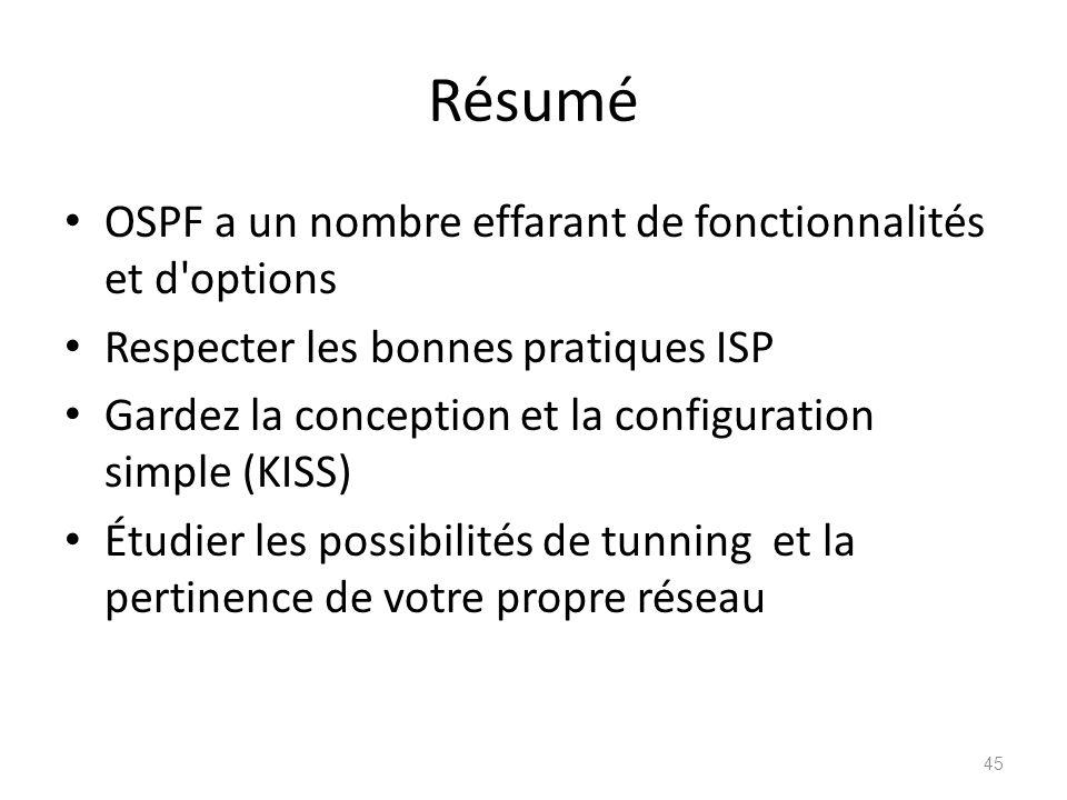 Résumé OSPF a un nombre effarant de fonctionnalités et d options