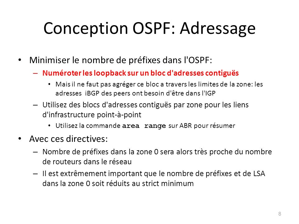 Conception OSPF: Adressage