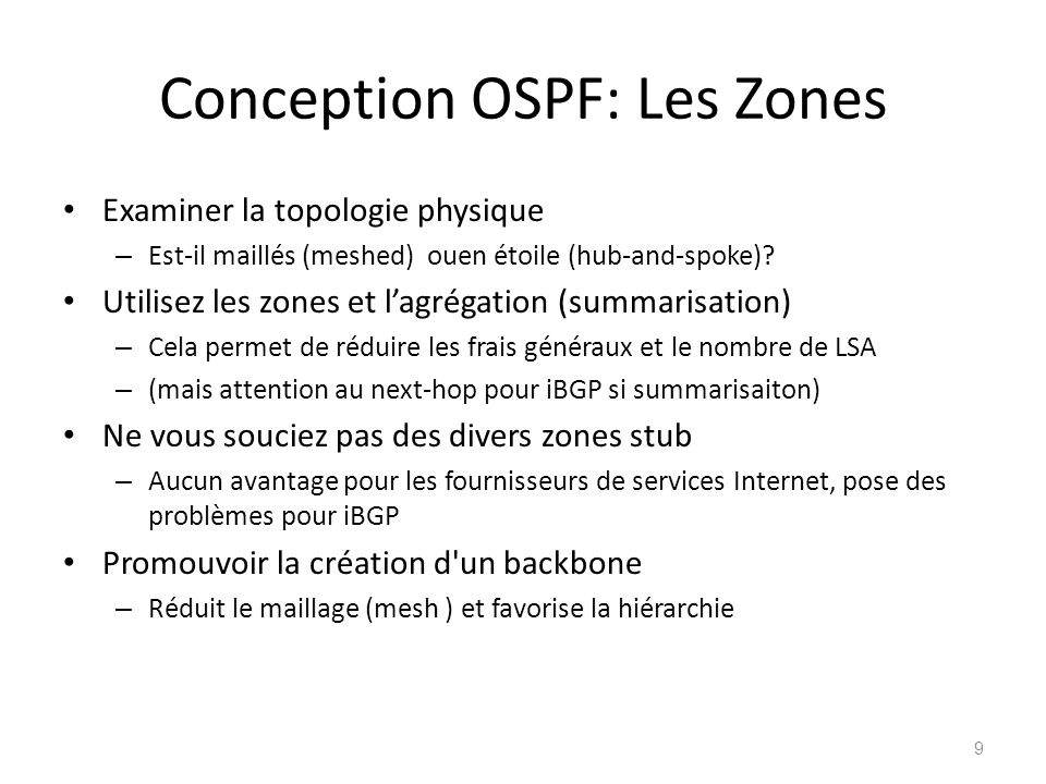 Conception OSPF: Les Zones