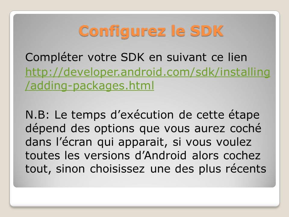 Configurez le SDK