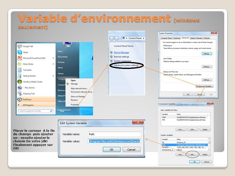 Variable d'environnement (windows seulement)