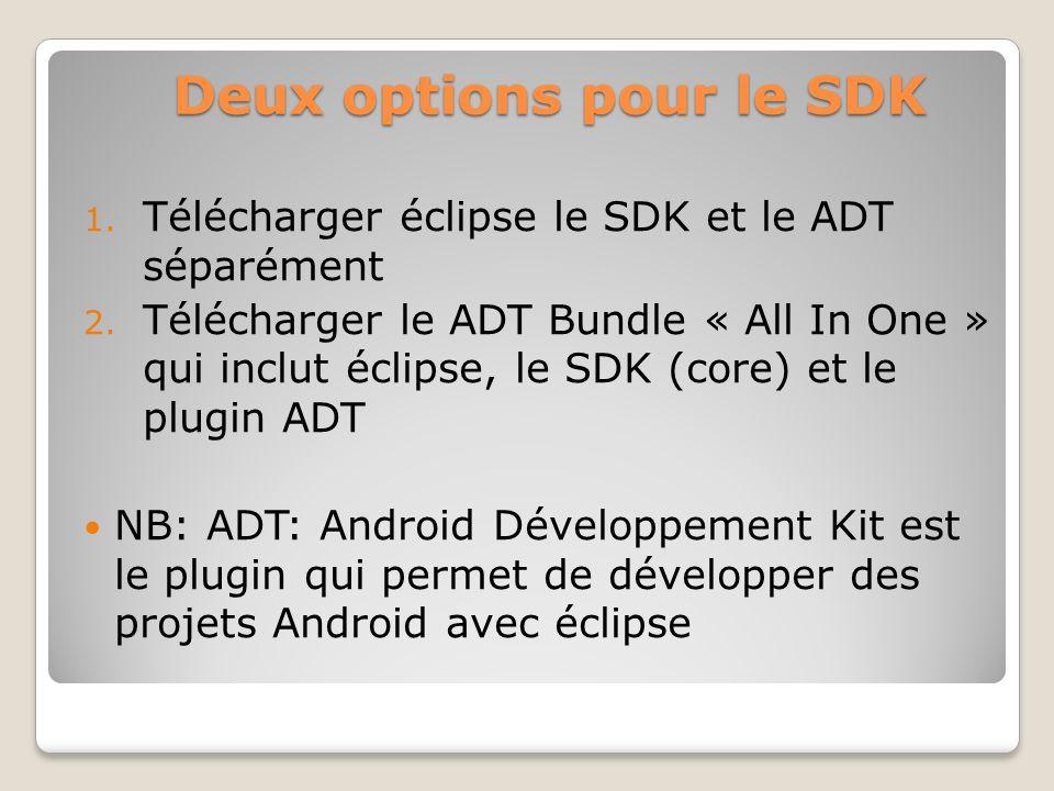 Deux options pour le SDK