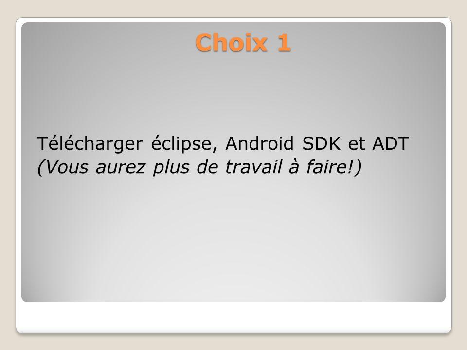 Choix 1 Télécharger éclipse, Android SDK et ADT