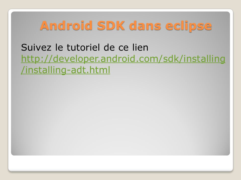 Android SDK dans eclipse