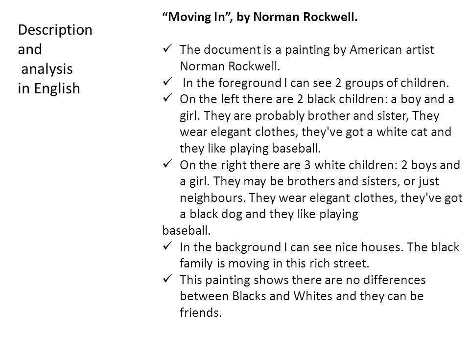 Description and analysis in English Moving In , by Norman Rockwell.