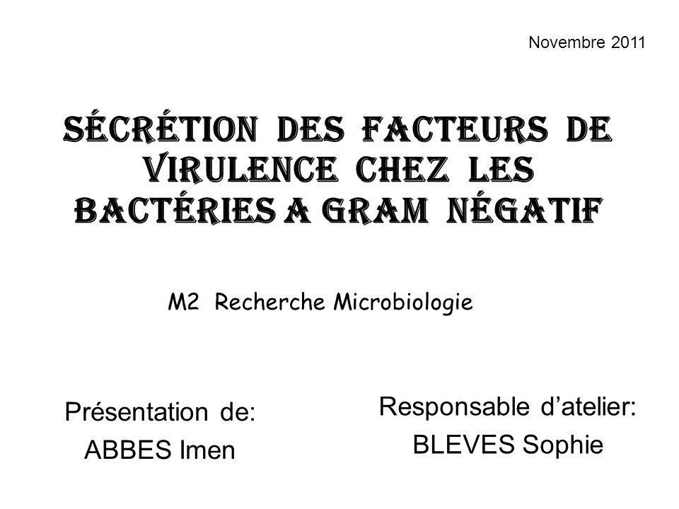 Sécrétion des facteurs de virulence chez les bactéries A GRAM négatiF