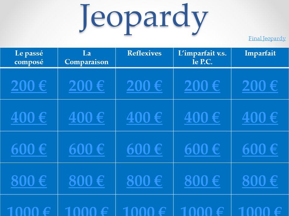 Jeopardy 200 € 400 € 600 € 800 € 1000 € Le passé composé