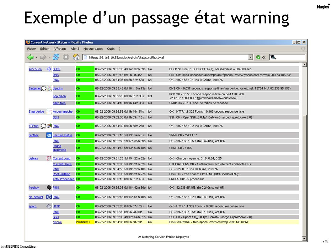 Exemple d'un passage état warning