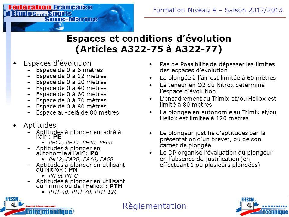Espaces et conditions d'évolution (Articles A322-75 à A322-77)