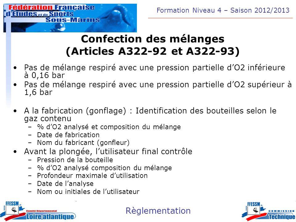 Confection des mélanges (Articles A322-92 et A322-93)