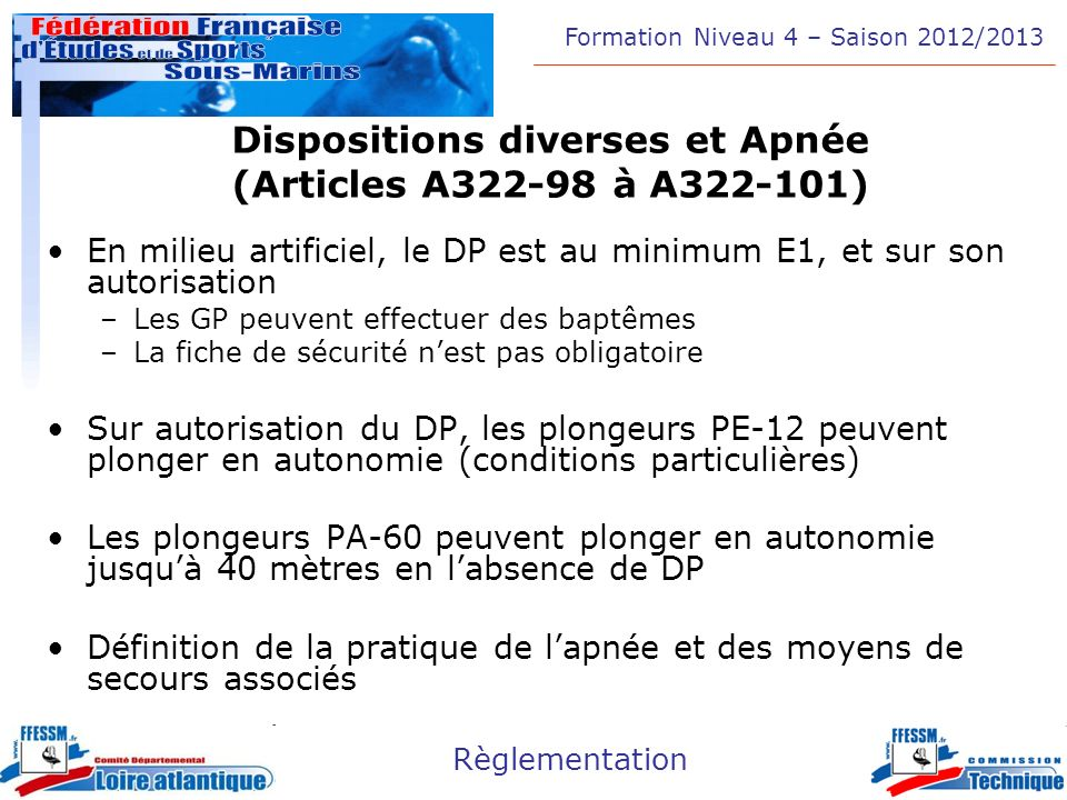 Dispositions diverses et Apnée (Articles A322-98 à A322-101)