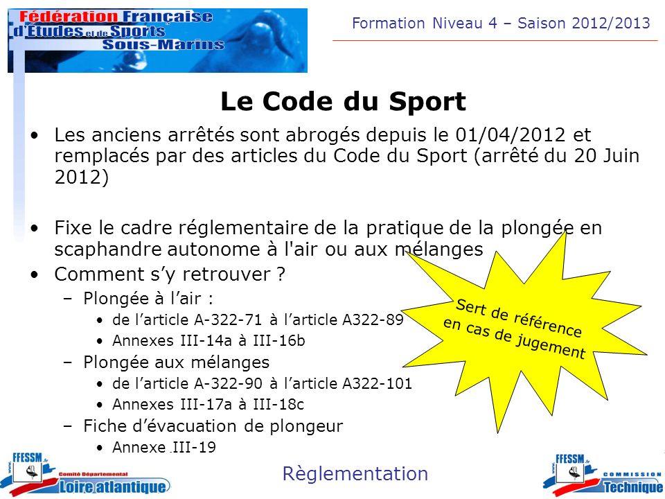 Le Code du Sport Les anciens arrêtés sont abrogés depuis le 01/04/2012 et remplacés par des articles du Code du Sport (arrêté du 20 Juin 2012)