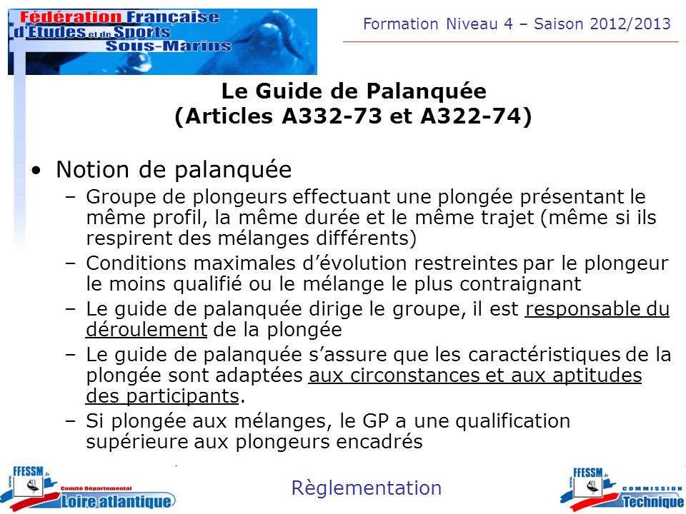 Le Guide de Palanquée (Articles A332-73 et A322-74)
