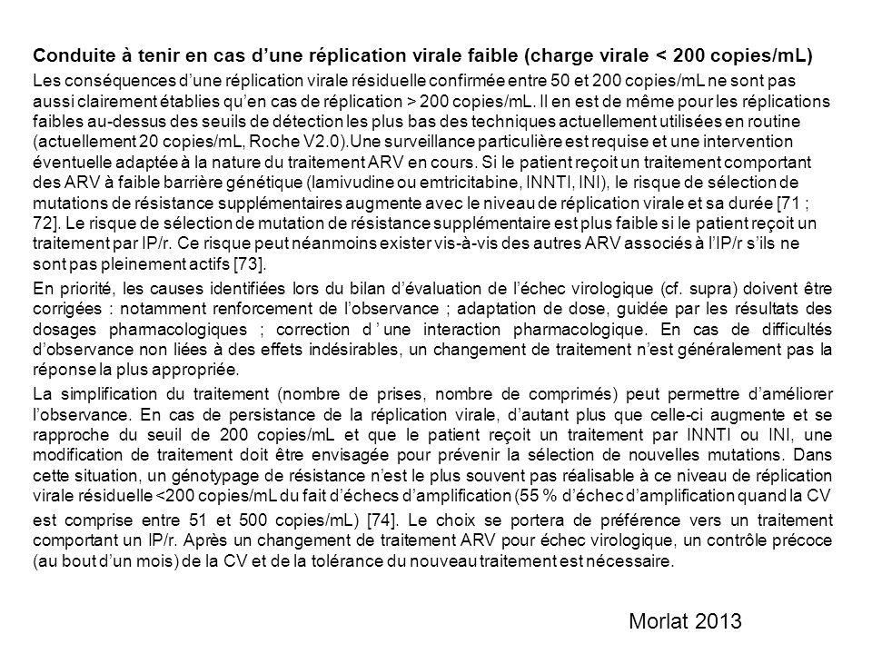 Conduite à tenir en cas d'une réplication virale faible (charge virale < 200 copies/mL)