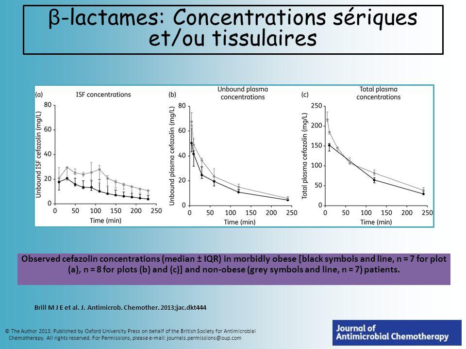 β-lactames: Concentrations sériques et/ou tissulaires
