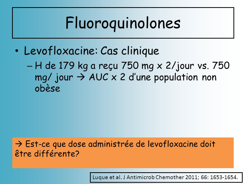 Fluoroquinolones Levofloxacine: Cas clinique