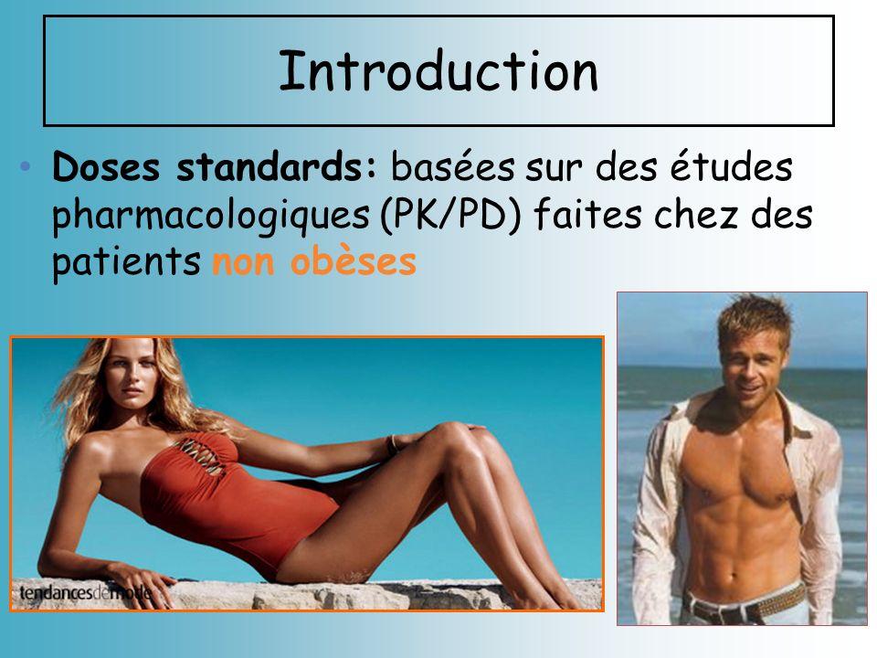 Introduction Doses standards: basées sur des études pharmacologiques (PK/PD) faites chez des patients non obèses.