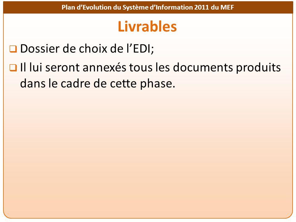 Livrables Dossier de choix de l'EDI;