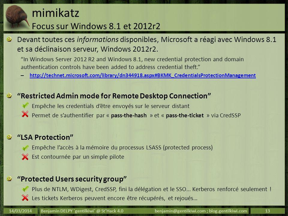 mimikatz Focus sur Windows 8.1 et 2012r2